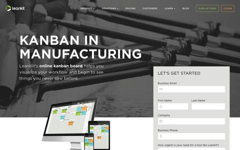 Screenshot of Landing Page leankit.com - Kanban in Manufacturing | LeanKit - captured Feb. 11, 2016