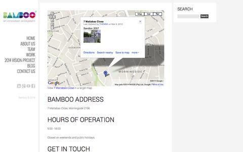 Screenshot of Contact Page bamboonetwork.co.za - Contact us - Bamboo - captured Oct. 5, 2014