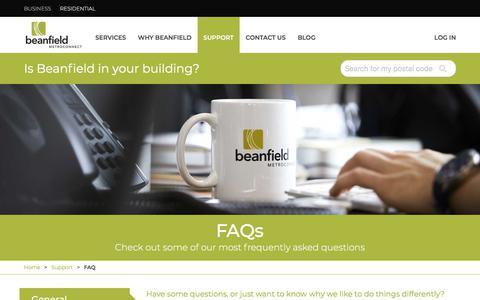 Screenshot of FAQ Page beanfield.com - FAQ | Beanfield Metroconnect - captured Sept. 26, 2018