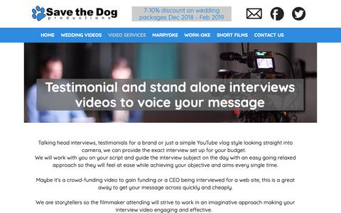 Screenshot of Testimonials Page savethedogproductions.com - Interview filming | testimonial video | London | Save the Dog Productions - captured Nov. 6, 2018