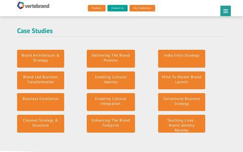 Screenshot of Case Studies Page vertebrand.com - Case Studies - Vertebrand Management Consulting Pvt Ltd - captured Oct. 19, 2018