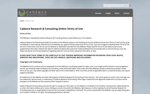 Screenshot of Terms Page cadenceresearch.com - Terms of Use | Cadence Research & Consulting - captured Oct. 1, 2014