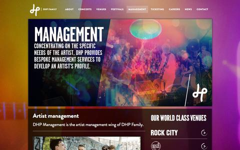 Screenshot of Team Page dhpfamily.com - Artist management - DHP Family - captured Sept. 30, 2014
