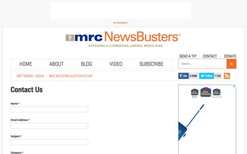 Screenshot of Contact Page newsbusters.org - Contact Us - captured Oct. 29, 2014