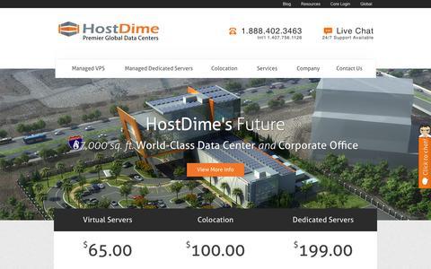 Screenshot of Home Page hostdime.com - HostDime: Managed Dedicated Servers, Managed Cloud Hosting - captured Aug. 20, 2016