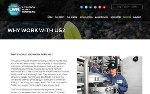 Screenshot of Jobs Page livestockwaterrecycling.com - Why Work With Us? - Livestock Water Recycling, Inc. - captured Nov. 11, 2018