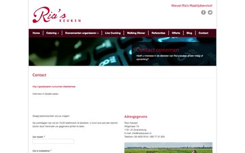Screenshot of Contact Page riaskeuken.nl - Ria's Keuken Contact » Ria's Keuken - captured Oct. 26, 2014