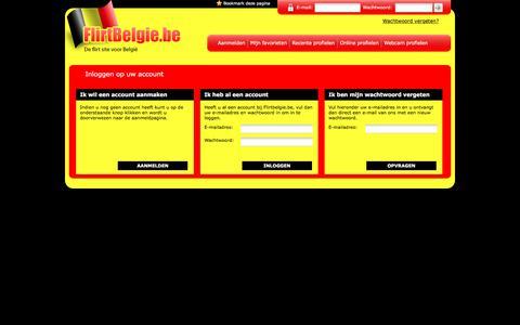 Screenshot of Login Page flirtbelgie.be - Flirtbelgie | De Flirt Site Voor Belgie - captured Feb. 7, 2018