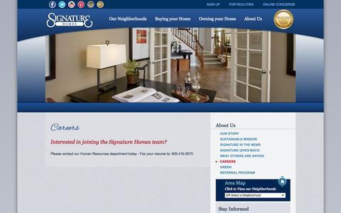 Screenshot of Jobs Page sighomes.com - New Homes San Francisco | Careers | Signature Homes - captured Nov. 5, 2014