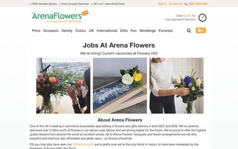 Screenshot of Jobs Page arenaflowers.com - Jobs at Arena Flowers   Find out how to apply. - captured Sept. 23, 2018