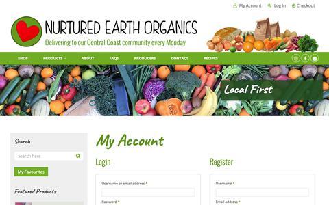 Screenshot of Login Page nurtured-earth.com.au - My Account – Nurtured Earth Organics - captured Oct. 18, 2018