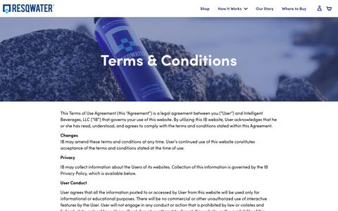 Screenshot of Terms Page resqwater.com - Terms & Conditions | RESQWATER® Hangover Recovery Drink - captured June 14, 2019