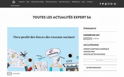 Screenshot of Blog expertsa.fr - Toutes les actualités Expert SA - captured July 24, 2018