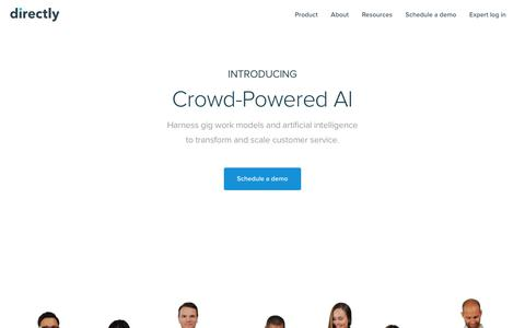 Screenshot of Home Page directly.com - Directly | Crowd-Powered AI - captured Jan. 14, 2018