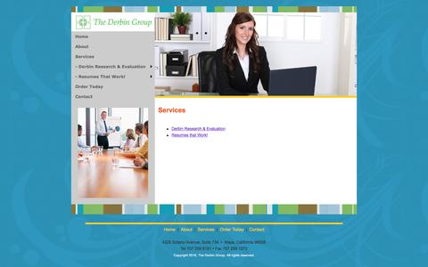 Screenshot of Services Page thederbingroup.com - Services | The Derbin Group, Research and Evaluation Services, Resumes That Work - captured Dec. 14, 2016