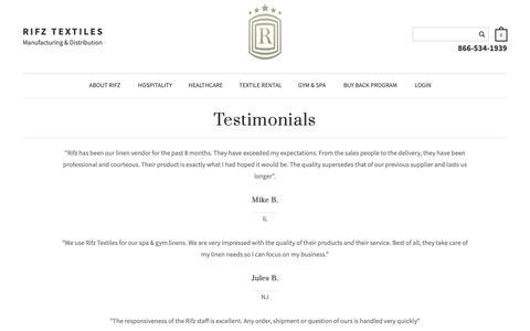 Screenshot of Testimonials Page rifz.com - Rifz Textiles - Testimonials - captured Oct. 18, 2018