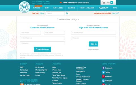 Screenshot of Signup Page Login Page honest.com - Account Sign-Up | The Honest Company - captured Oct. 22, 2014