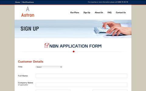 Screenshot of Signup Page astron.net.au - NBN - Sign Up Application Form - captured Nov. 21, 2016