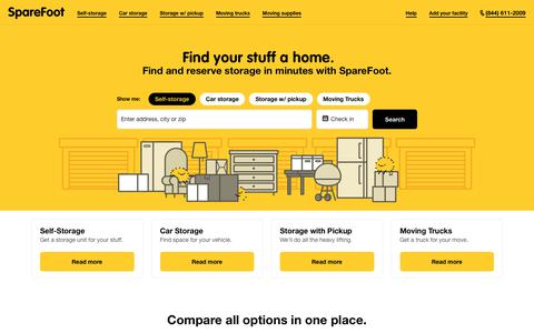 Screenshot of Home Page sparefoot.com - SpareFoot: Find Your Stuff a Home - captured Oct. 14, 2017