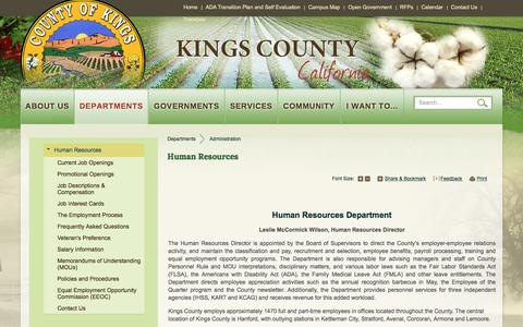 Screenshot of Jobs Page countyofkings.com - Kings County : Human Resources - captured June 26, 2016