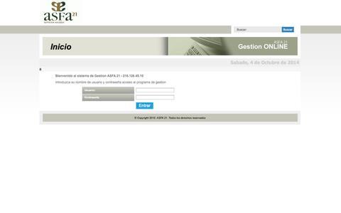 Screenshot of Login Page grupoasfa21.com captured Oct. 4, 2014