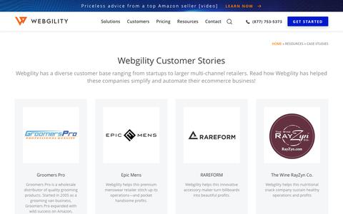 Screenshot of Case Studies Page webgility.com - Case Studies: What Customers are Saying About Our Solutions - Webgility - captured June 3, 2019