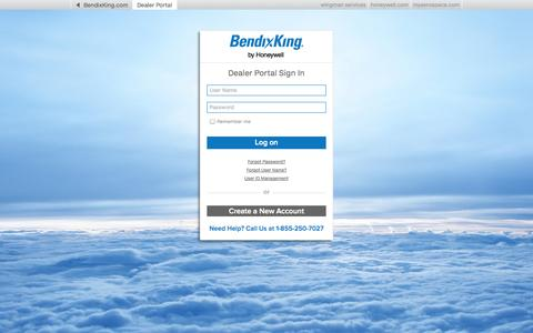 Screenshot of Login Page bendixking.com - Login - BendixKing by Honeywell - captured Sept. 30, 2014