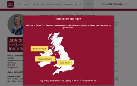 Screenshot of Contact Page garagedoorsystems.co.uk - Contact - Garage Door Systems - captured Sept. 27, 2018