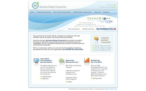 Screenshot of Home Page businessdesigncorp.com - Business Design Corporation and TouchStone Business Systems - captured Oct. 5, 2014