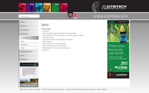 Screenshot of Testimonials Page nutritech.co.nz - Testimonials | Nutritech - Solutions in Animal Nutrition for New Zealand Livestock - captured Oct. 6, 2014