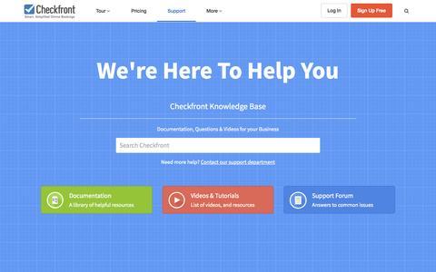 Screenshot of Support Page checkfront.com - Checkfront Support - captured Oct. 15, 2015