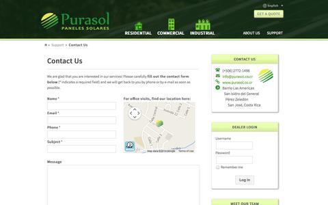 Screenshot of Contact Page Support Page purasol.co.cr - Contact solar panel providers in Costa Rica - captured Oct. 27, 2014