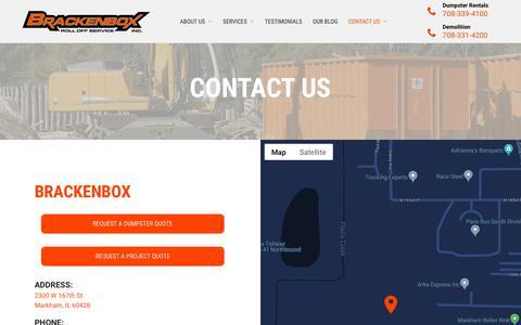 Screenshot of Contact Page brackenbox.com - Contact | Chicagoland Dumpster Rental | Brackenbox - captured Nov. 13, 2018