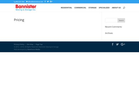Screenshot of Pricing Page bannistermovingaz.com - Pricing   Bannister Moving & Storage Inc - captured Oct. 5, 2018