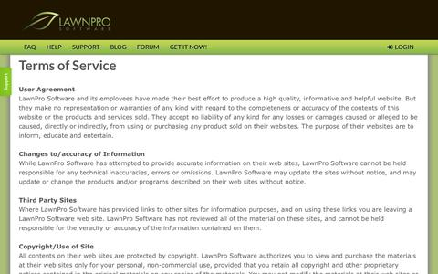 Screenshot of Terms Page lawnprosoftware.com - lawn care software | lawn business software by LawnProSoftware.com - captured Oct. 31, 2014