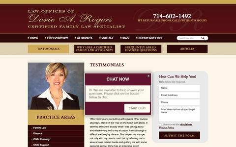 Screenshot of Testimonials Page drfamilylaw.com - Testimonials | The Law Offices of Dorie A. Rogers, APC | Orange County, California - captured Sept. 27, 2018