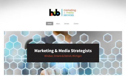 Screenshot of Home Page hubmedia.ca - Hub Media- Marketing & Media Services - captured Oct. 3, 2014