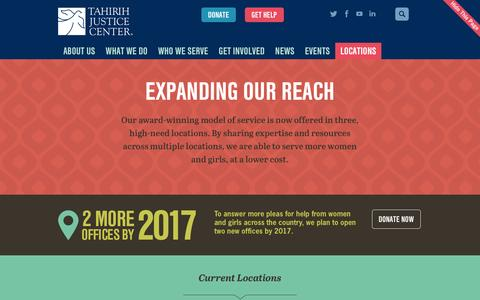 Screenshot of Locations Page tahirih.org - Locations «  Tahirih Justice Center - captured Feb. 16, 2016