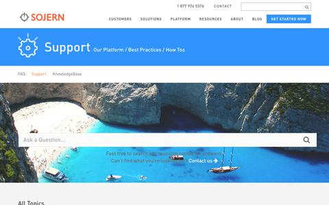 Screenshot of Support Page sojern.com - Customer Support | Sojern - captured Feb. 18, 2016