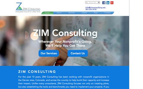 Screenshot of Home Page zimconsulting.net - ZIM Consulting - Building Better Nonprofits for a Better World - captured Nov. 28, 2016