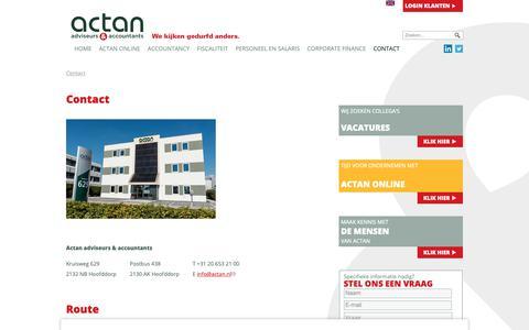 Screenshot of Contact Page actan.nl - Contact | Actan Adviseurs en Accountants Hoofddorp - captured Oct. 3, 2018