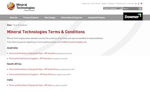 Screenshot of Terms Page mineraltechnologies.com - Terms & Conditions - Mineral Technologies - captured June 11, 2017