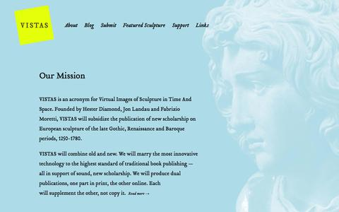 Screenshot of Home Page vistasonline.org - VISTAS- Hester Diamond; Jon Landau; Funding for Scholarly Books on European Sculpture, 1250-1780; vistasonline.org - captured Oct. 7, 2014