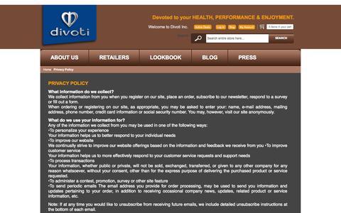 Screenshot of Privacy Page divotiusa.com - Privacy Policy - captured Oct. 5, 2014