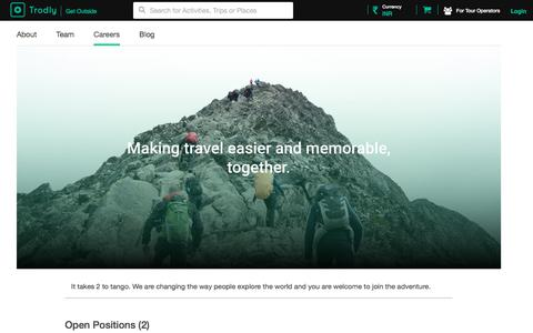 Screenshot of Jobs Page trodly.com - Trodly - Travel Guides | Book Amazing Tours and Activities - captured Nov. 13, 2017