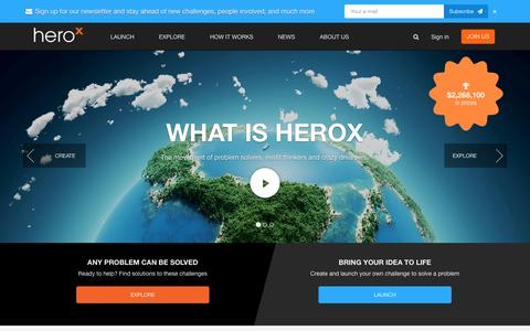 Screenshot of Home Page herox.com - HeroX - Incentive Competitions, Challenges, Prizes - captured Jan. 8, 2016