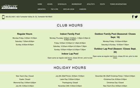 Screenshot of Hours Page valleyac.com - Hours at The Valley Athletic Club - captured Oct. 23, 2017
