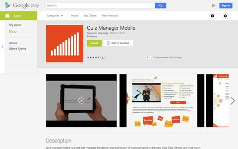 Screenshot of Android App Page google.com - Quiz Manager Mobile - Android Apps on Google Play - captured Oct. 23, 2014