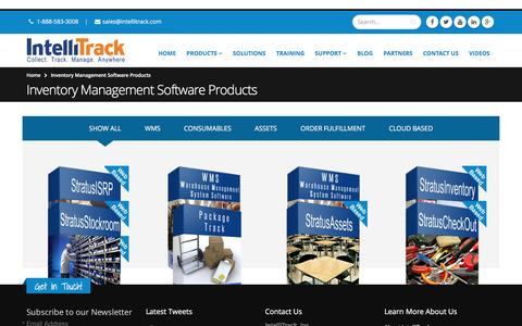 Screenshot of Products Page intellitrack.net - Inventory Management Software Products - Intellitrack - captured Aug. 6, 2016