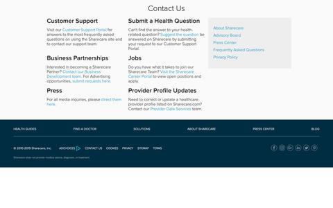 Screenshot of Contact Page sharecare.com - Contact Portal - Sharecare - captured Feb. 27, 2019